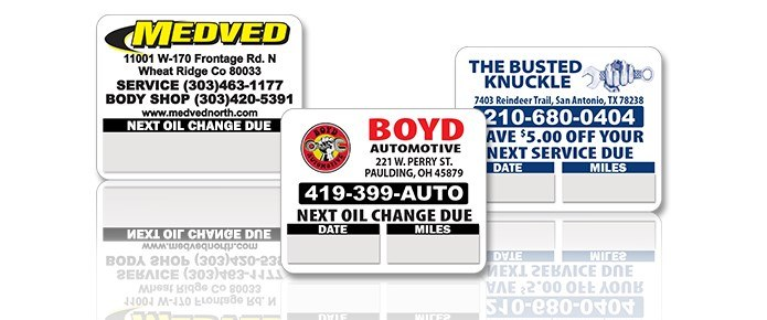 Custom Oil Change Stickers are low cost