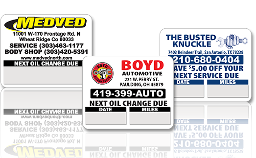 Custom oil change stickers custom oil change labels
