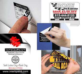 Removable Adhesive Oil Change Sticker Examples