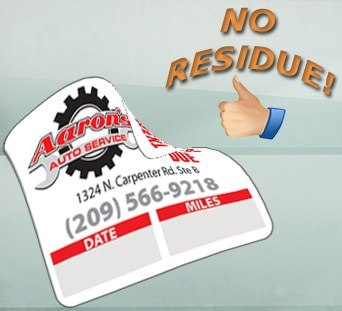 Removable Adhesive no residue oil change stickers