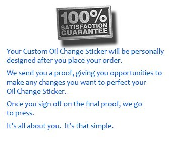 Review Your Custom Oil Change Stickers Order